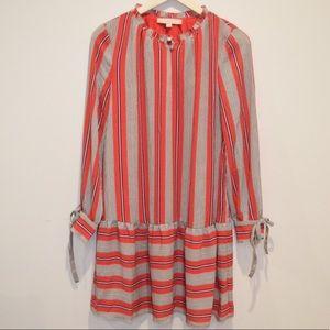 LOFT Striped Flounce Dress